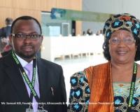 Mr Samuel Alli, founding Director, Afroscandic & Mrs Joyce Hilda Banda, Former President of Malawi