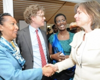 Ambassador Frances Rodrigues of Mozambique and Swedish Minister for International Development Cooperation, H.E. Ms. Isabella Lövin,