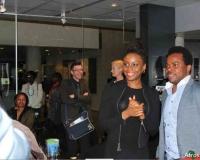Chimamanda Ngozi Adichie poses with fans in denmark