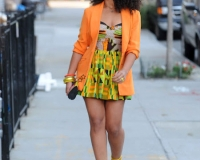 Elle varner j cole in an African attire