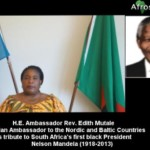 H.E. Ambassador Rev. Edith Mutale, the Zambian Ambassador to the Nordic and Baltic Countries, eulogized Nelson Mandela