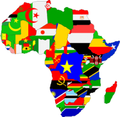 map of africa showing africa flags